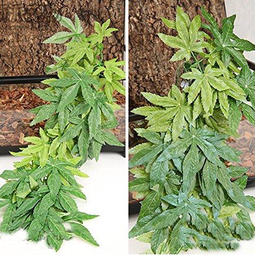 (dezirZJjx Artificial Plants Aquarium Reptile Fish Tank Artificial Plastic Fake Hanging Leaves Plant Decor - Green 30cm)