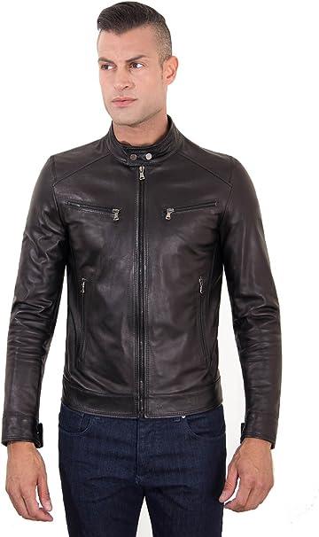 giacca pelle uomo nera