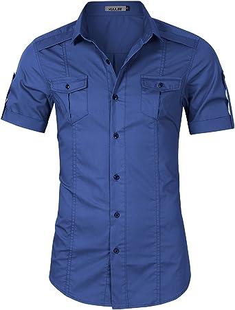 KUULEE Camisa Hombre de Manga Corta, Camisa Casual de Verano(Negro/Azul): Amazon.es: Ropa y accesorios