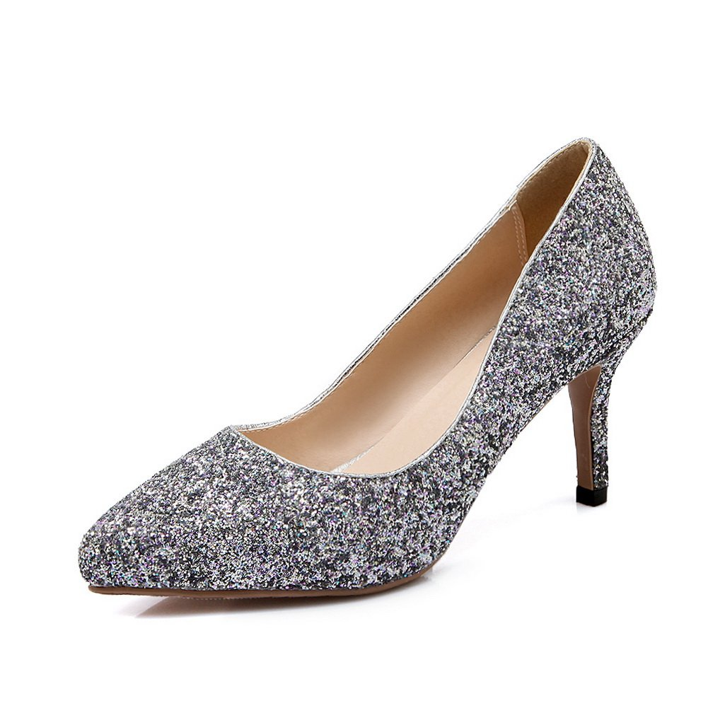 BalaMasa Womens Sequins Pull-On Imitated Leather Pumps-Shoes