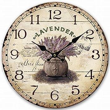 Lavanda LFNRR grandes relojes de pared decorativos diseño moderno salón de madera antiguos Reloj de pared Vintage decoracion rustica de moda,Plata,12 pulg.
