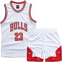 Sokaly Ragazzi Adulto Basket da Maglia Chicago Bulls Jorden # 23 Curry#30 James#23 Pantaloncini da Basketball Jersey Set di Abbigliamento Sportivo Maglie Top e Shorts (Altezza 100-180cm)