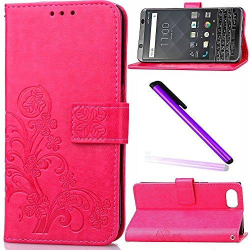 BlackBerry KEYone Mercury Case Cover EMAXELER Colour Stylish Wallet Kickstand Flip Cover Embossing Credit Cards Slot Cash Pockets PU Leather Wallet Cover For KEYone Clover Red ()