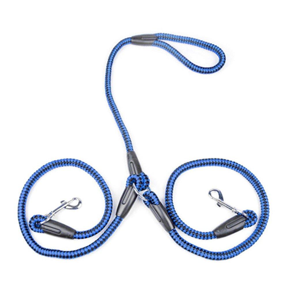 Demino Fuerte Correa de Perro de Nylon Doble Trenzado Una Drag enredo de la tracció n de la Cuerda de la Correa de Accesorios para Mascotas Azul + Negro