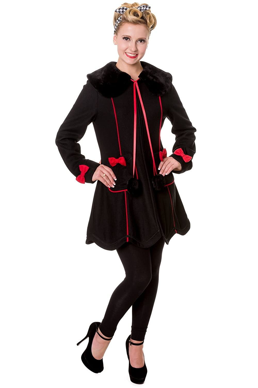 1950s Coats and Jackets History Banned Bows Vintage Coat - Black or Red $83.95 AT vintagedancer.com