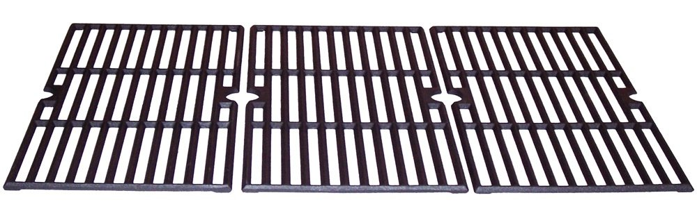 Music City Metals 68763 Matte Cast Iron Cooking Grid Replacement for Select Gas Grill Models by Charbroil, Kenmore and Others, Set of 3