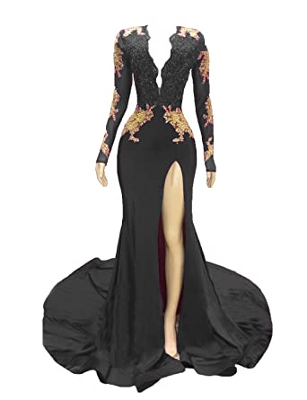 706e3ac228 Graceprom Women s 2019 Backless Mermaid Prom Dresses Gold Lace Appliques  Side Slit Long Sleeves Evening Gown