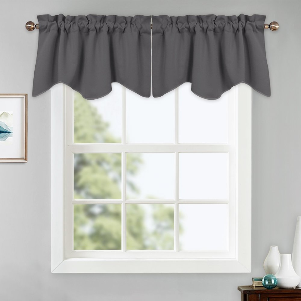 Valances Window Treatments PONY DANCE Grey Curtain Valances - Window Treatments Kitchen Curtain Half  Scalloped Valances Tiers Rod Pocket Top Home Decor for Living Room, 42 x 18  inch, ...