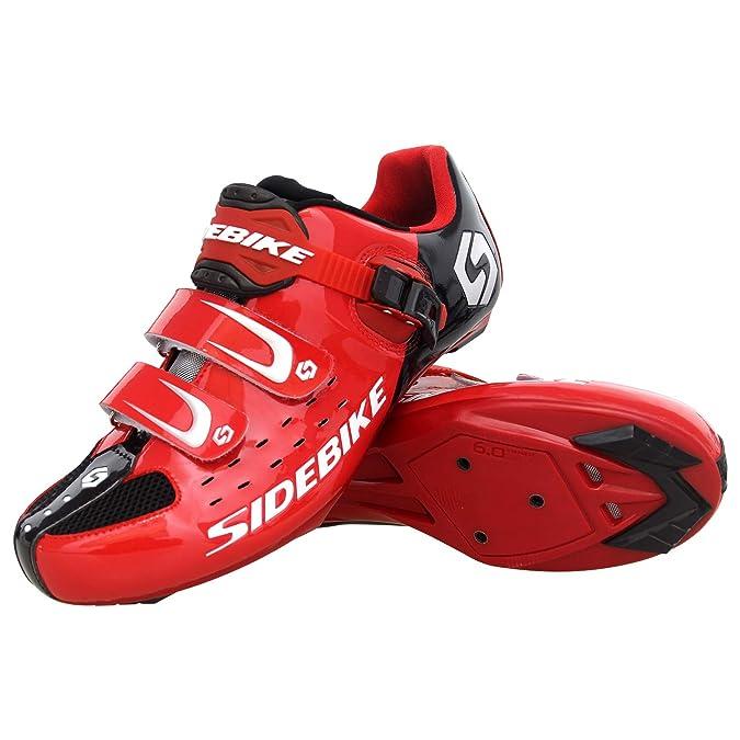 SIDEBIKE Zapatillas de Ciclismo con Pedales y Calas, Zapatos de Bicicleta de Carretera Ajustables, Antivibración Amortiguación, Calzado Ciclismo con Malla ...