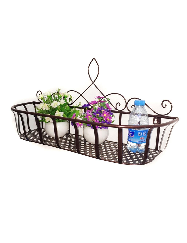 LHP Continental Iron Wandbehang Flower Pot Regal, Balkon Blumenregal, Dekorative Pflanze Regal High-End ( farbe : Bronze , größe : L )