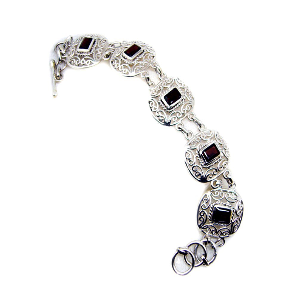 Jewelryonclick Real Garnet Bracelet Emerald Cut Sterling Silver For Women Bangle Style January Birthstone L 6.5-8 Inch