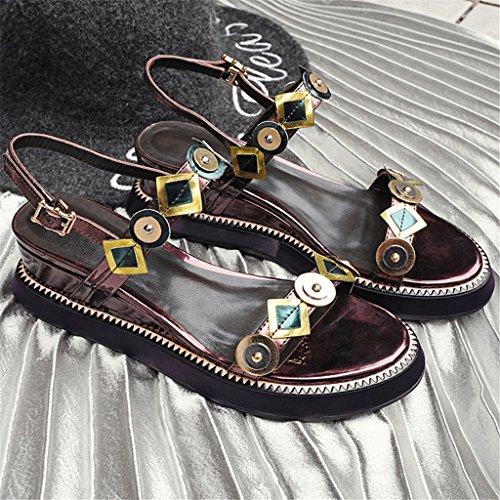 LIXIONG Portátil Pendientes de lentejuelas con sandalias Moda femenina de verano Una fuente de pantalones de espesor abierto de corteza gruesa Era zapatos de damas delgadas -Zapatos de moda ( Tamaño :