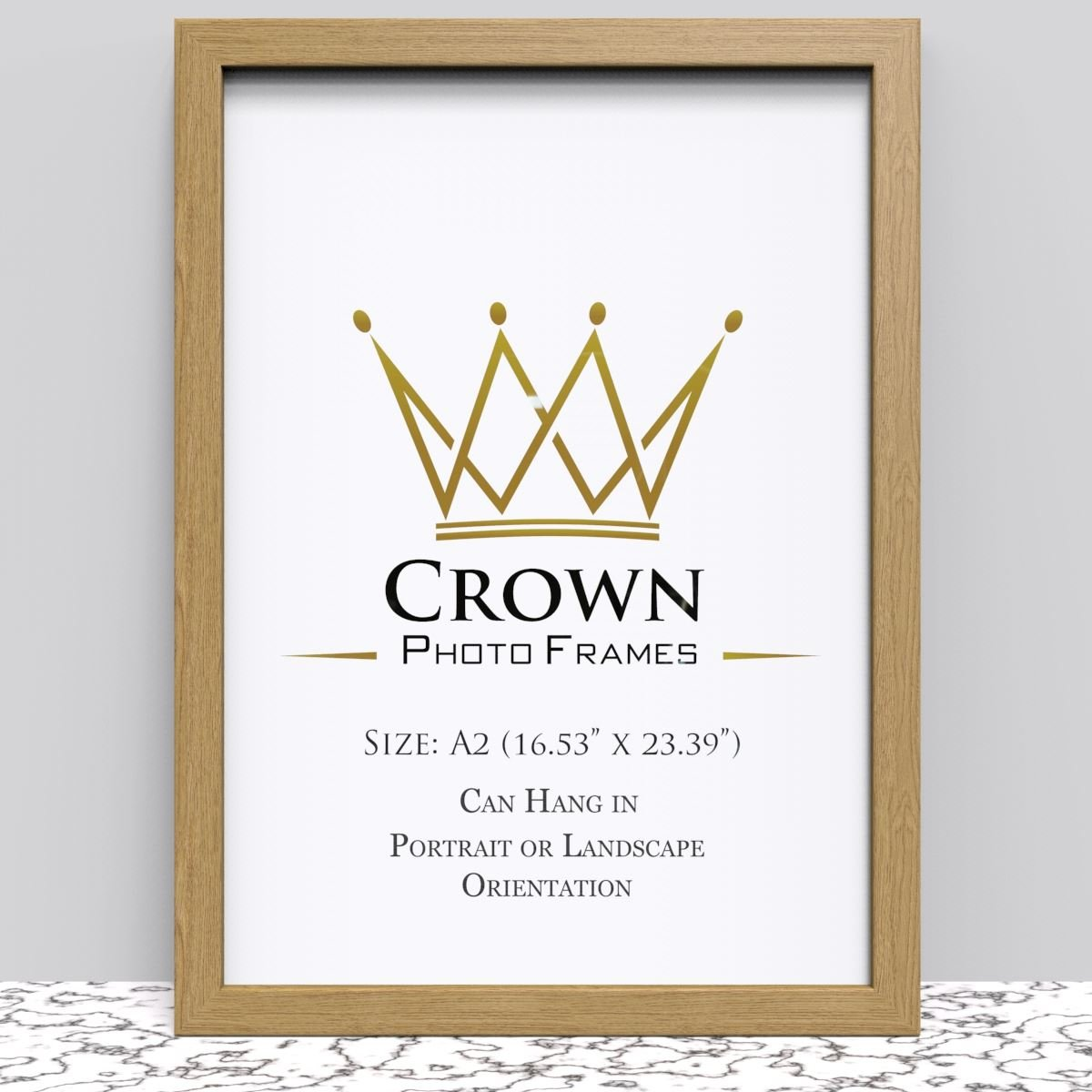 Crown Oak Photo Frame for A2 42 x 59.4 cm (16.53x23.39 Inches ...