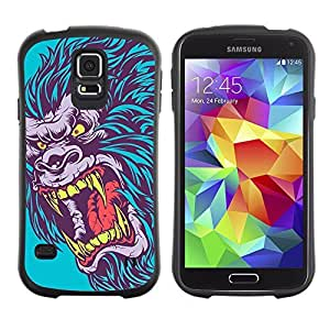 Hybrid Anti-Shock Bumper Case for Samsung Galaxy S5 / Evil Neon Gorilla