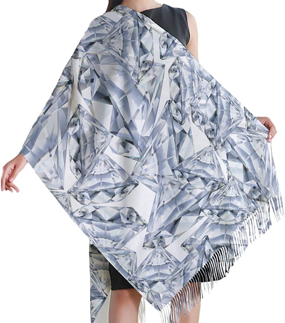 White Cashmere Feel Scarves with Tassels for Men Women