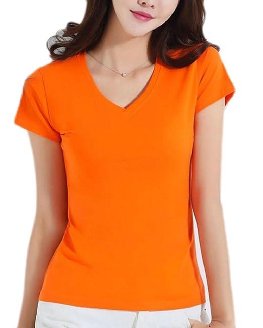 a555b335593c4 Amazon.com: shinianlaile Womens Short Sleeve T Shirts V Neck Solid ...