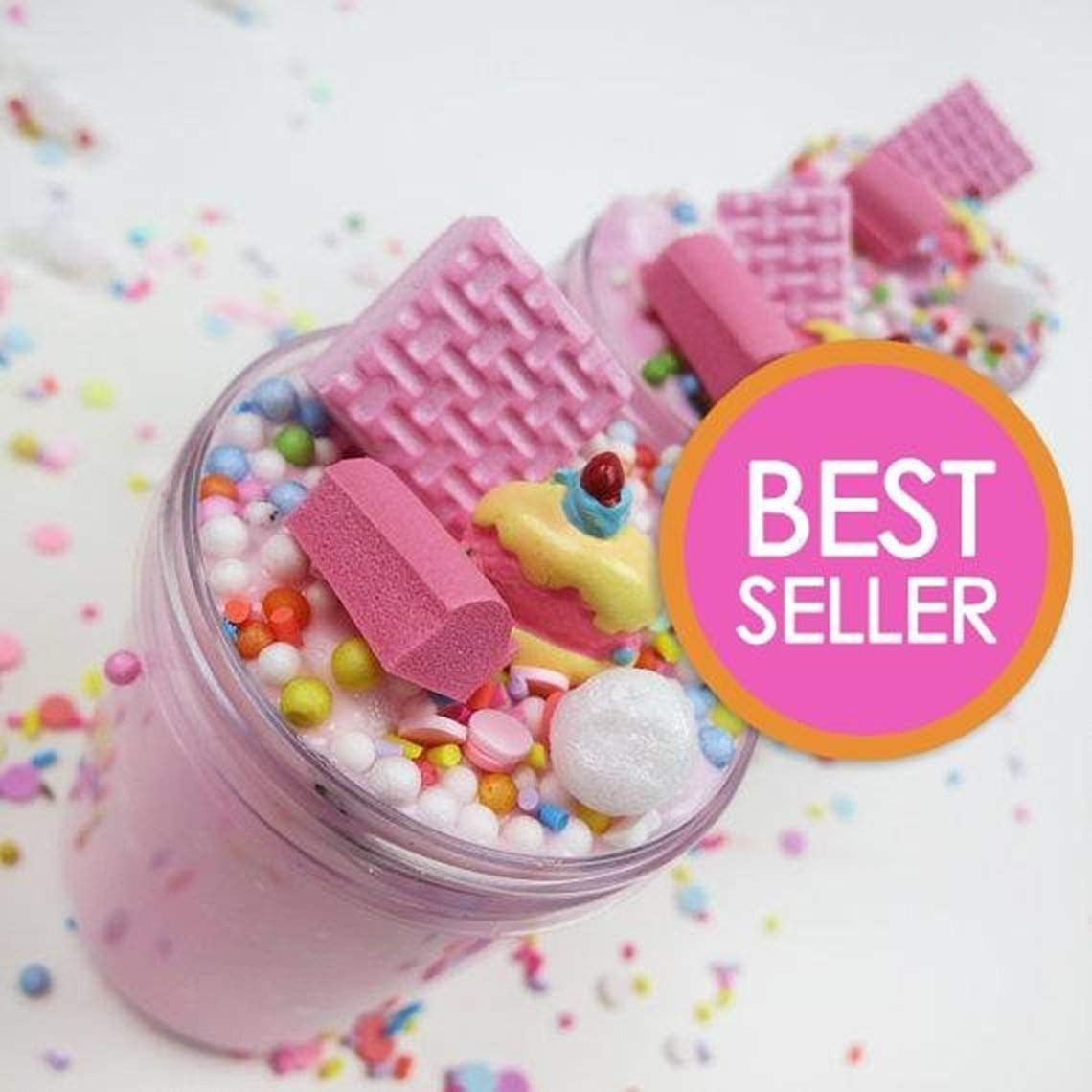 e524f0352f3d ORIGINAL Strawberry Pink Birthday Cake Slime with Cake Charm (Scented) - 4  oz - Made in USA