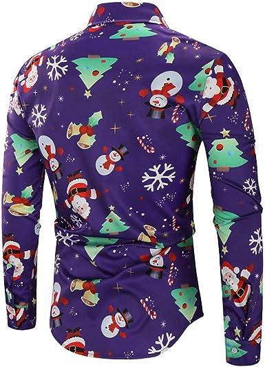 AMhomely Camisa de Navidad para Hombre con diseño de Copos de Nieve, Tallas S-XXXXXL Beige Morado (M: Amazon.es: Ropa y accesorios
