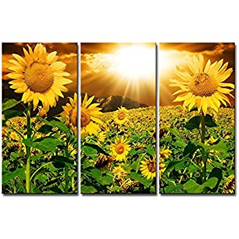 High Quality Canvas Print Wall Art Painting For Home Decor Bright Sunflower Yellow  Sunshine 3 Pieces Panel Paintings