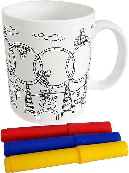 DISOK - Taza para Colorear en Cajita de Regalo - Regalos Infantiles Fiestas, Cole, Cumpleaños, Comuniones: Amazon.es: Hogar