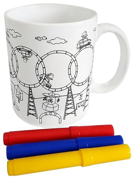 DISOK - Taza para Colorear en Cajita de Regalo - Regalos Infantiles Fiestas, Cole, Cumpleaños, Comuniones