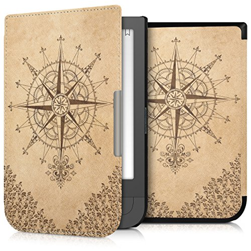 kwmobile Case for Pocketbook Touch HD/Touch HD 2 - Book Style PU Leather Protective e-Reader Cover Folio Case - dark brown beige