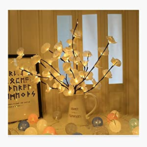 Mostbest Lighted Flowers Branch- Artificial Phalaenopsis Decorative Lights Flower Shape Lighted Branch Waterproof for Home Christmas Party Wedding Outdoor/Indoor (White)