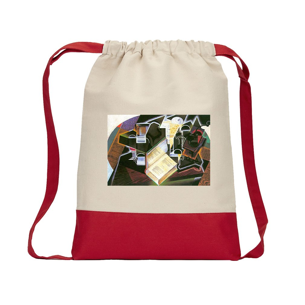 Book, Pipe And Glasses (Juan Gris) Canvas Backpack Color Drawstring - Red