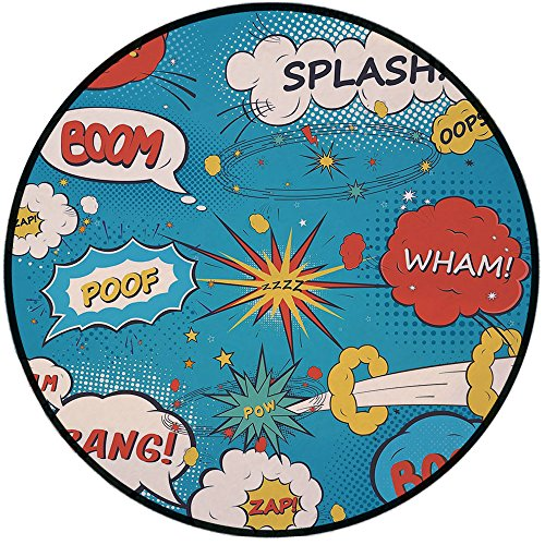 Printing Round Rug,Superhero,Pop Art Style Comic Speech Bubbles Funny Humor Expressions Boom Splash Bang Decorative Mat Non-Slip Soft Entrance Mat Door Floor Rug Area Rug For Chair Living Room,Blue Cr ()