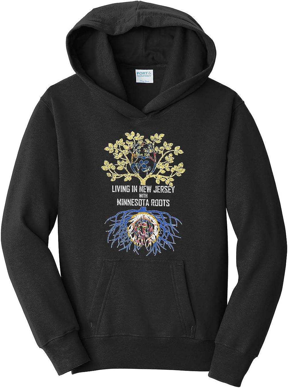 Tenacitee Girls Living in New Jersey with Minnesota Roots Hooded Sweatshirt
