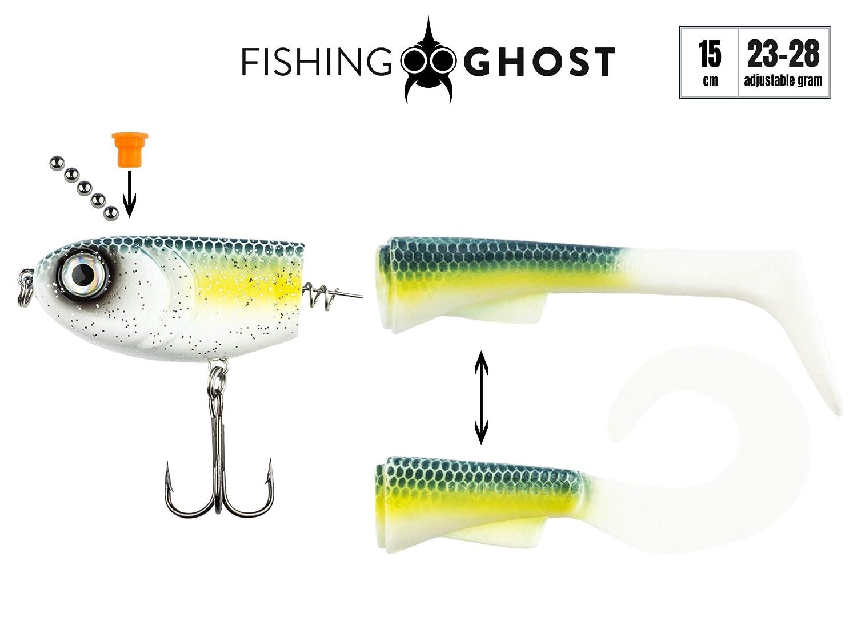 Angelk/öder zum Hechtangeln Swimbait 15cm 23-28gr FISHINGGHOST/® Grumpy Switch Softbait Extreme Schwimmaktion K/öder zum Angeln auf Hecht mit wechselbaren Schwanz