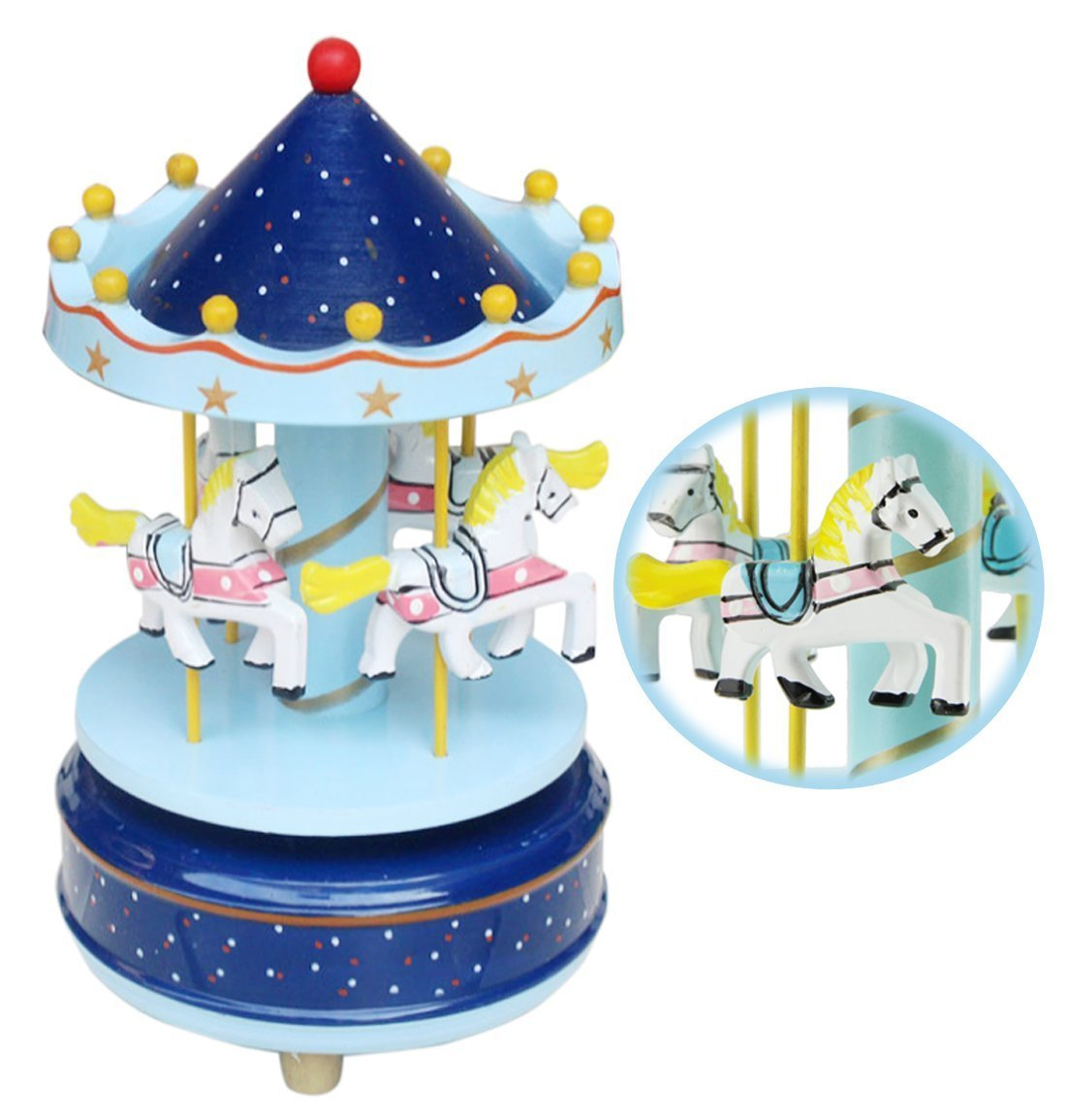 BXT® 4 Pferde Karusselle Spieluhr Carousel Musikspieldose Music Box Kreative Artware / Geschenk Melodie Schloss im Himmel keine Stromversorgung