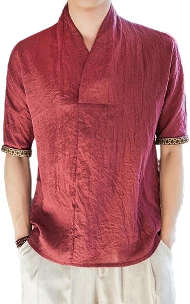 Camiseta De Algodón Y Lino para Hombre De Estilo Chino Camisa De Manga Corta Retro Camisa Informal De Cuello En V, Red2-2XL: Amazon.es: Ropa y accesorios