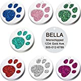 Vcalabashor Pet ID Tags for Small & Medium Dogs & Cats/Round Tags with Sparkly Paw Print/Bling Engraved Personalized Animal Tag/Pink/Blue/Green/Red/ 1.0'x1.0'