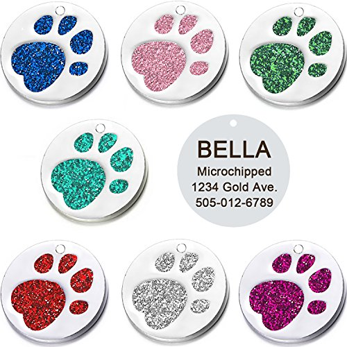 (Vcalabashor Pet ID Tags for Small & Medium Dogs & Cats/Round Tags with Sparkly Paw Print/Bling Engraved Personalized Animal Tag/Pink / Blue/Green/ Red/ 1.0