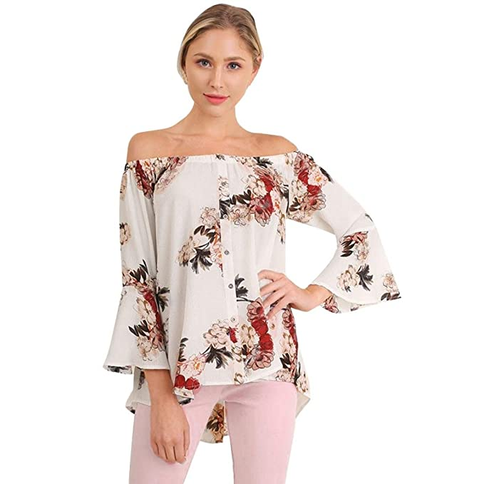 Mujer de moda camisa de manga larga, Yannerr ocio OFF hombro blusas estampadas florales (