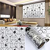DODOING 17.7x196.9 inch Privacy Home Bathroom Window Glass Self Adhesive Film Sticker,Static Cling Waterproof Frosted Window Film with Black Wrounght Iron Flower Design