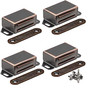 20 lbs Magnetic Door Catch, Heavy Duty Latch for Cabinets Shutter Closet Furniture Door, Stainless Steel Cabinet Catch, Oil Rubbed Bronze (4 Pack)
