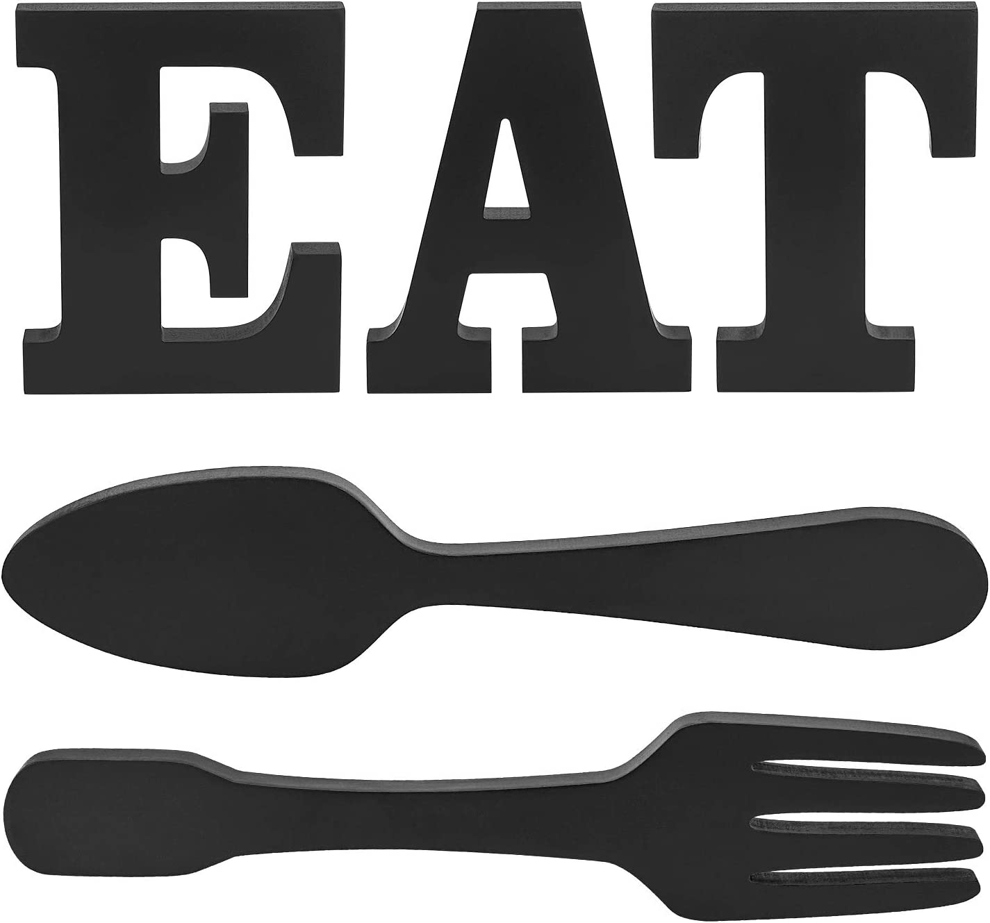 Biewoos EAT Letter Sign + Fork Spoon Wall Hanging Sign,Large Wooden Letters for Kitchen Sign Dinning Room Restaurant Coffee Shop Wall Mounted Decoration (Black)