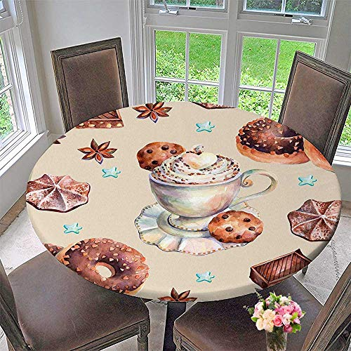 (Mikihome Simple Modern Round Table Cloth Kitchen Decorations Chocolate Donuts Marshmallows and Cookies Pattern Brown and Beige for Daily use, Wedding, Restaurant 59