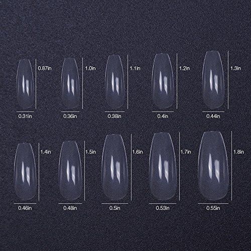 Amazon.com : 500pcs 10 size False Nails Clear Coffin Transparent Fake Nails Full Coverage Long Square : Beauty