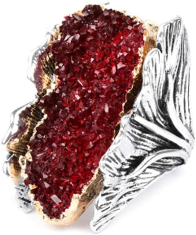 LMKAZQ Piedras Preciosas Naturales Gran Dama Plata Antigua Cristal Rojo Flor Novia Anillo de Bodas Regalo de Fiesta