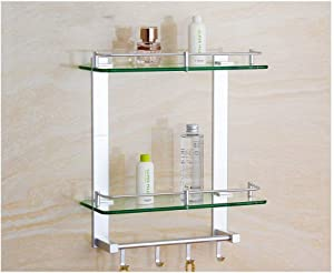 IUYJVR Wall Shelves Stainless Steel Bathroom Shelves, 2 Tier Multifunctional Glass Shelves with Hooks (Size: 60cm)