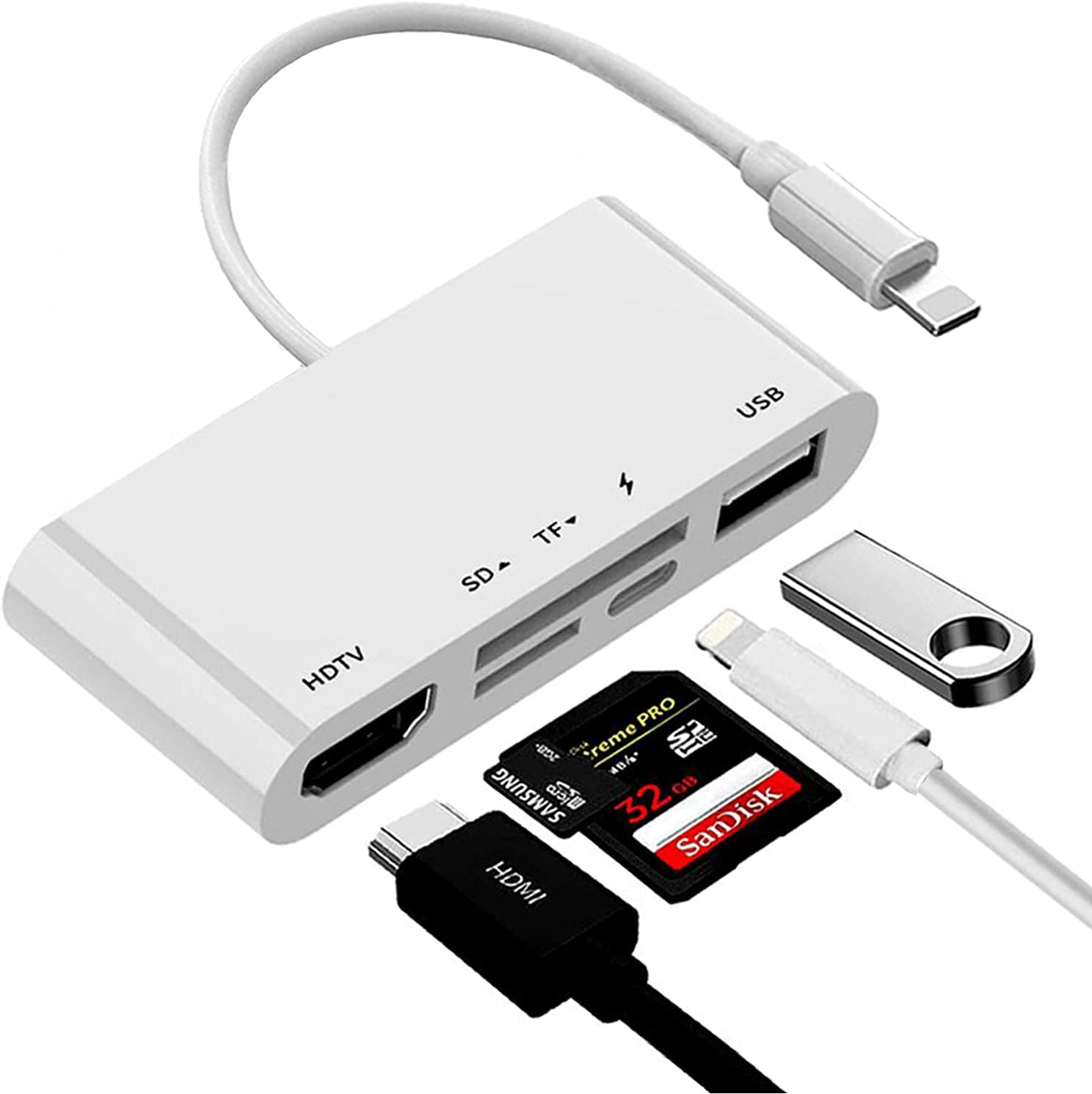 Lightning to HDMI 1080P Digital AV Adapter,Rosyclo 5 in 1 SD&TF Card Reader USB Camera OTG Adapter and Charging Port Compatible iPhone/iPad/iPod Projector/Monitor and More USB Device