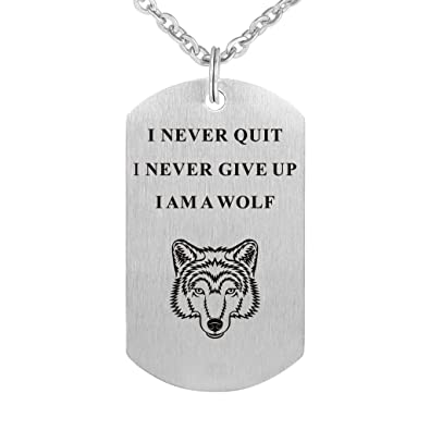 6c4b72fc6 I Never Give Up I Never Quit Wolf Pendant Stainless Steel Necklace  Inspirational Jewelry Personalized Jewelry