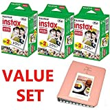 Fujifilm INSTAX Mini Instant Film 60 Sheets (3x Twin Pack = 60 Sheets) With Photo Album 64 Pockets Pink For Fuji Mini 8 7s 25 50s 90 SP-1 Printer Value Set Bundle