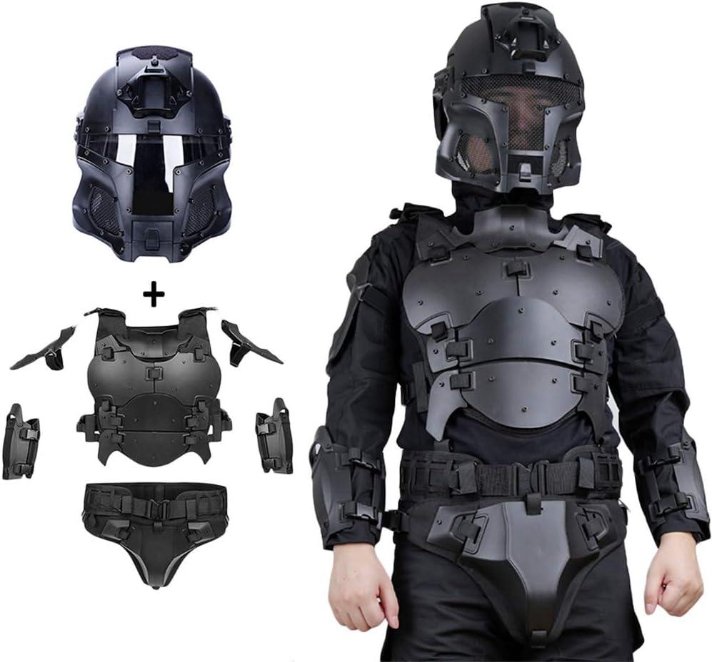 WTZWY Conjunto de Casco y Armadura de máscara Facial Militar táctica, Equipo de protección Molle Chaleco Deportivo Ajustable Multifuncional para Exteriores, Disfraz de terminador