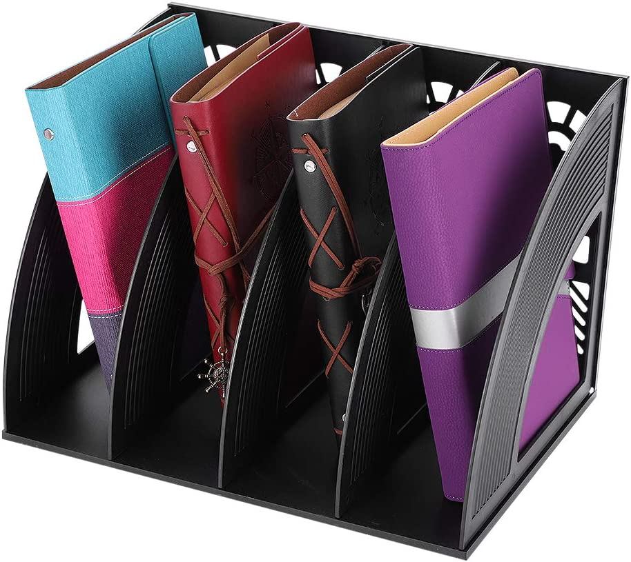 Office File Organizer for Desk Plastic File Storage Folder Racks Magazine Mail Holders Desk Top File Sorters Four Slot Document Binder Organizer for Home School
