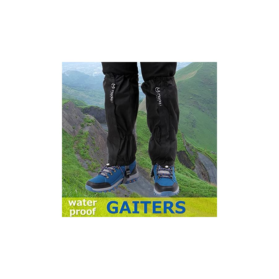 Macks.i Outdoor Unisex Waterproof Camping Hiking Gaiters High Leg Cover 1pair with a Free Shoe Bag