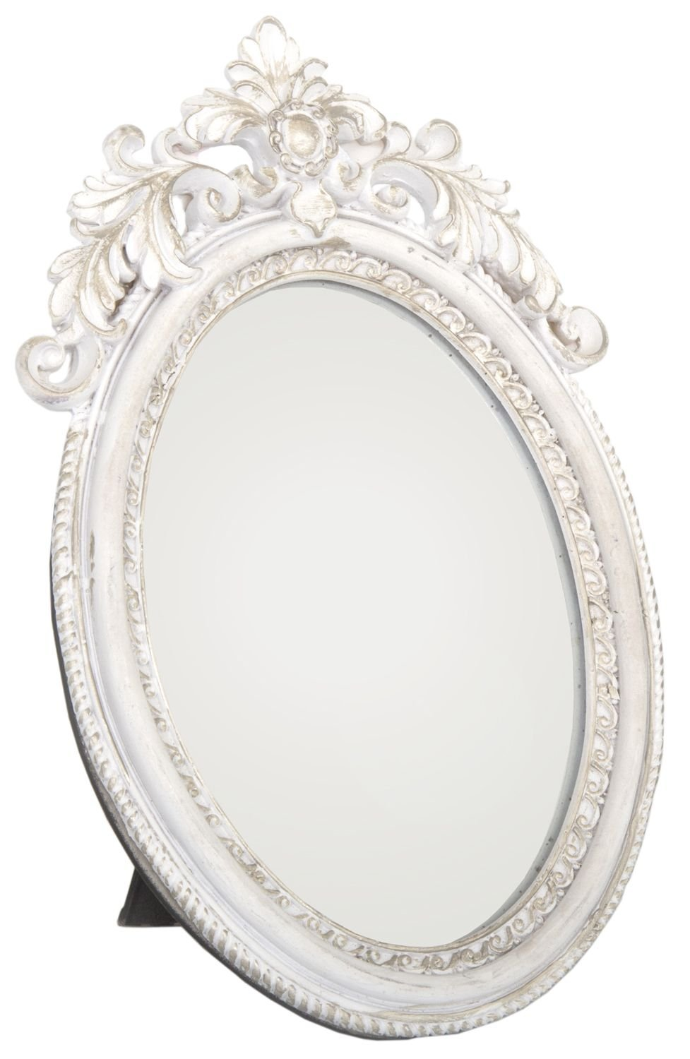 Antique Style Ornate Oval Freestanding Dressing Table Mirror White And Gold  Frame 24Cm X 16Cm: Amazon.co.uk: Kitchen U0026 Home